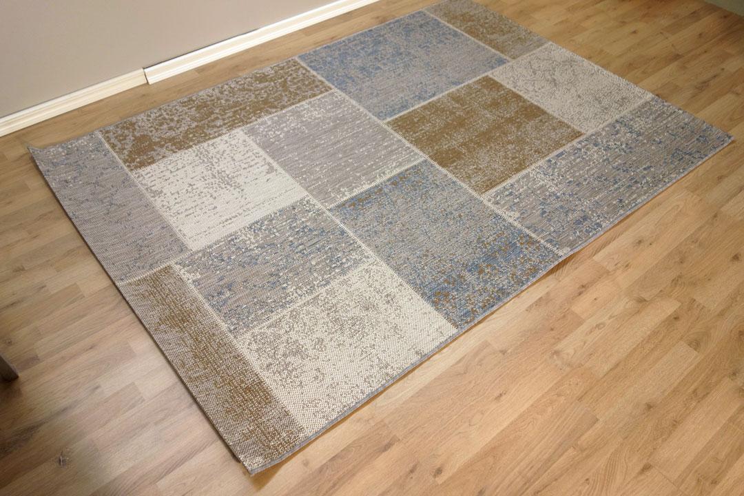 Sileä matto Mosaic sininen harmaa ruskea  Mattotukku fi verkkokauppa